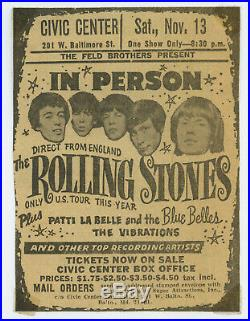 Original THE THE ROLLING STONES 1965 Baltimore Concert Ad advertisement