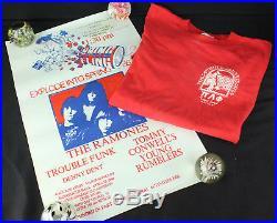 Original Vintage 1986 Ramones Tour Temple University Concert T-Shirt & Poster