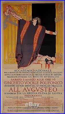 Original Vintage Italian OVERSIZE Poster for ALL' AVGVSTEO Concert Opera