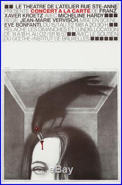 Original Vintage Poster Concert a la Carte 1981 Theater Belgium Surreal Raven