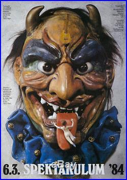 Original Vintage Poster Gunther Kieser Spektakulum German 1984 Concert Mask Art