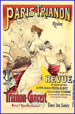 Original Vintage Poster Paris Trianon Revue French Theater 1894 Concert Showgirl