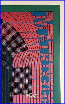 Original Vintage Poster THE DOORS 1967 Moscoso Concert NR #10 1st Printing Green