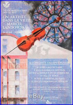 Original Vintage Poster Violin French Marcel Landowski Concert 1987 Music Paris