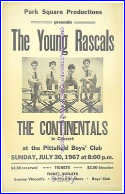 Original YOUNG RASCALS cardboard concert poster Pittsfield, MA EX 1967 BEAUTY