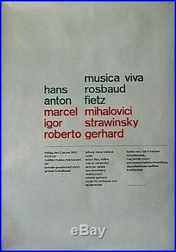 Original vintage poster MUSICA VIVA CONCERT FESTIVAL ZURICH 1961