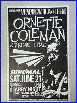 Ornette Coleman Prime Time Rare Original Portland OR Jazz Concert Tour Poster