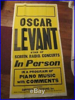 Oscar Levant Original Appearance Concert Poster 1940`s