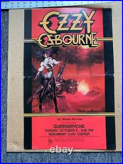 Ozzy Osbourne Ultimate Sin ULTRA RARE 1986 Concert Tour Poster Queensryche Texas