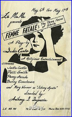 PATTI SMITH 1ST EVER STAGE APPEARANCE 1970 HOLY GRAIL Concert Poster WARHOL