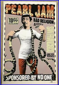 PEARL JAM 1995 San Francisco Concert POSTER Bad Religion Amesbros Excellent RARE