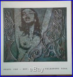 PEARL JAM concert poster Rome Italy 1996 original # 30/1000 with8 cards green lady