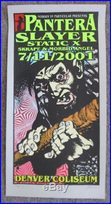 Pantera Slayer Denver Colorado Original Silkscreen Concert Poster Kuhn