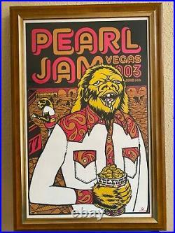 Pearl Jam Concert Poster Las Vegas 6/6/03 AP S/N /100 Custom Framed