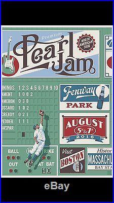 Pearl Jam Fenway Park Concert Poster Steve Thomas Green Monster NEW