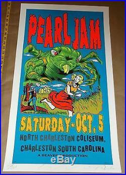 Pearl Jam TAZ silkscreen day glow concert poster 1996