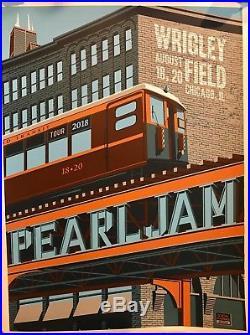 Pearl Jam poster Wrigley Field chicago steve thomas art 2018 tour pj concert