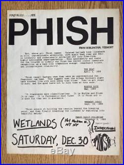 Phish Wetlands Nyc New York 1989 Original Concert Poster Flyer Rare