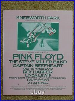 Pink Floyd original poster for the 5th July 1975 Knebworth Park concert