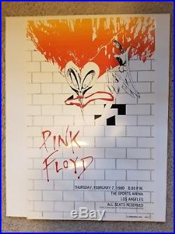 Pink floyd the wall RARE 1980 LA concert poster 19 1/2 x13