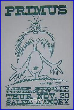 Primus Les Claypool Limp Bizkit Rare Original 1997 Dr Suess Lorax Concert Poster