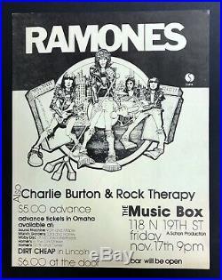 RAMONES Original 1978 Nebraska Concert FLYER 10.5x13.5 ORIGINAL Punk KBD poster