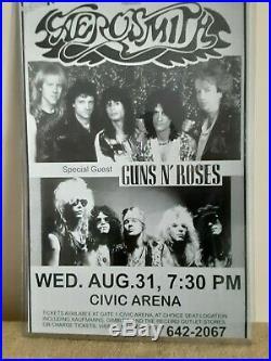 RARE Original 1988 AEROSMITH & GUNS N ROSES POSTER Pittsburg Civic CONCERT INFO