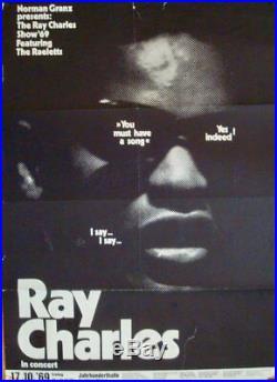 RAY CHARLES FRANKFURT 1969 German concert poster GUNTHER KIESER Art VERY RARE