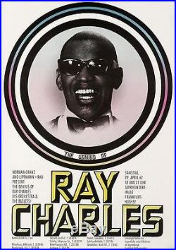 RAY CHARLES German A1 1967 FRANKFURT concert poster GUNTHER KIESER Art