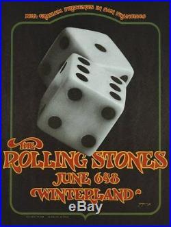 ROLLING STONES BG 289-2 1972 WINTERLAND concert poster DAVID SINGER BILL GRAHAM
