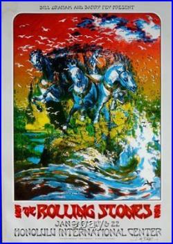 ROLLING STONES HAWAII 1973 concert poster signed by DAVID SINGER BILL GRAHAM
