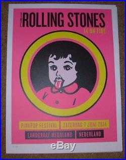 ROLLING STONES concert poster print LANDGRAAF kid 6-7-14 2014 Lithograph ON FIRE