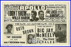 RUTH BROWN Big Jay McNeely DUKE ELLINGTON Orioles Original 1953 Concert Handbill
