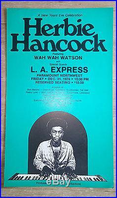 RaRe (1976) HERBIE HANCOCK with wah wah watson Jazz Concert cardboard POSTER