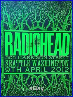 Radiohead 4/9/2012 Seattle, WA concert poster Limited Edition numbered 155/400