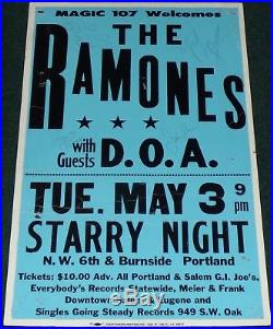 Ramones D. O. A. 1983 Original Signed Concert Poster Portland Oregon