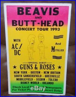 Rare- Beavis & Butthead 1993 Concert Tour Poster -AC/DC Metallica & Guns n Roses