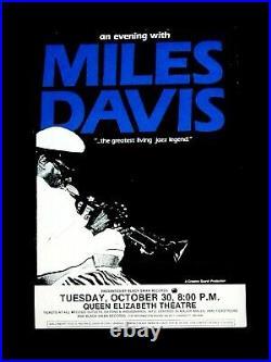 Rare MILES DAVIS 1990 Concert Poster Vancouver, Canada