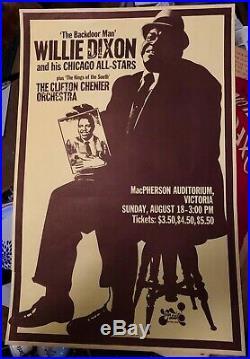 Rare Original 1974 Willie Dixon & His Chicago All-stars Canadian Concert Poster