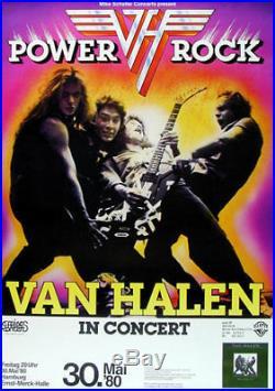Rare Original 1980 Van Halen German Concert Poster Hamburg David Lee Roth