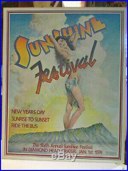 Rare Original Vintage 1974 Sunshine Festival Hawaii Concert Poster