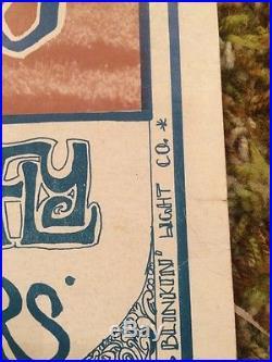 Rare Vintage 1967 Iron Butterfly Count Five Concert Poster Santa Rosa Fairground