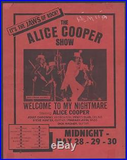 Rare Vintage Alice Cooper Paper Concert Flyer Poster Original Rock Metal Pop