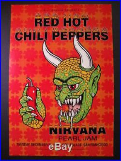 Red Hot Chili Peppers Pearl Jam Nirvana Original Concert Poster / 1st Printing
