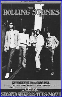Rolling Stones Original Concert Handbill SAN DIEGO 1969 BG 202 Keith Mick