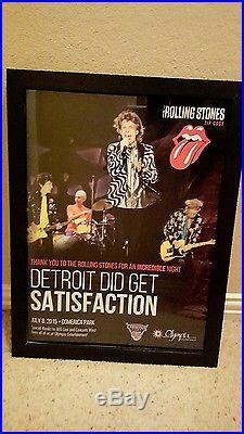 Rolling Stones Rare 2015 Comerica Park Detroit Concert Promo Poster Framed
