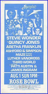 STEVIE WONDER Quincy Jones ARETHA FRANKLIN Ashford & Simpson Concert Handbill