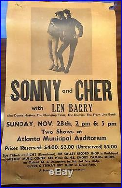 Sonny And Cher 1965 ORIGINAL Boxing Style Concert Poster