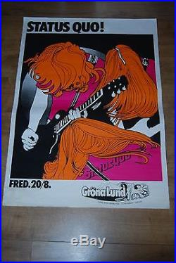 Super-rare Large Original Status Quo 1976 Sweden Stockholm Psych Concert Poster