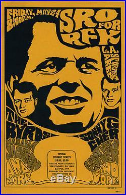 THE BYRDS / GRAM PARSONS Sonny & Cher Original 1968 SRO for RFK Concert Poster +